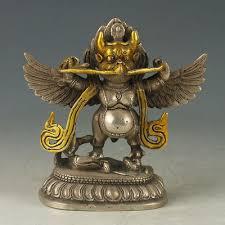 <b>Exquisite</b> Chinese OLD <b>Tibetan</b> Silver <b>Copper Gilt</b> Carved Thunder ...
