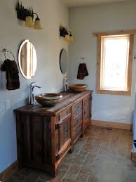 reclaimed wood vanity rustic bath cabinetry log cabin vanities