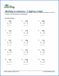 Grade 4 Multiplication Worksheets - free & printable | K5 LearningGrade 4 Multiplication in Columns Worksheet