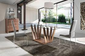 modern glass dining table. Arena, Modern Glass Top Dining Table With A Walnut Veneer Finish Base/3 Sizes