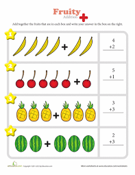Kindergarten Visual Addition Worksheets | Education.comFruity Fun