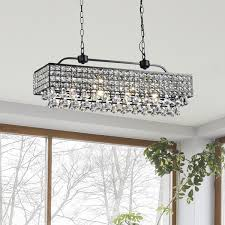 jolie antique black 5 light rectangular crystal chandelier free for new household rectangle crystal chandelier designs