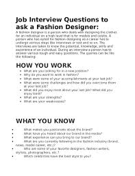 Questions To Ask On Work Experience Doc Job Interview Questions To Ask A Fashion Designer