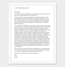 Apology Letter To Girlfriend For Ignoring Her