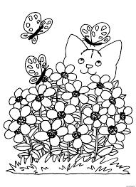 Coloriage Printemps Chat Fleurs Dessin