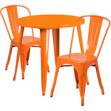 outdoor table and chairs. 30\u0027\u0027 Round Orange Metal Indoor-Outdoor Table Set With 2 Cafe Chairs CH Outdoor And