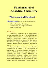 Fundamental Of Analytical Chemistry What Is Analytical Chemistry