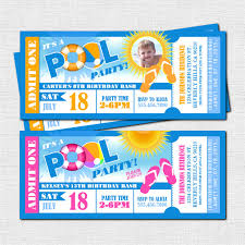 Party Ticket Invitations Adorable POOL PARTY Ticket Invitations Summer Celebration Print Your Etsy