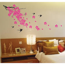 bedroom swallow and pink fl flower bedroom wall decals on the white wall master bedroom