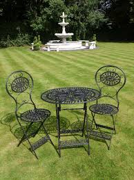 Black Wrought Iron 3 Piece Bistro Style Garden Patio Furniture Set. French  Ornate Antique Green