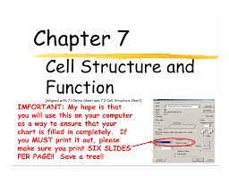 Cell Structure Chart 7 1 And 7 2 Ppt