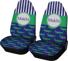 alligators stripes car seat covers set of two personalized