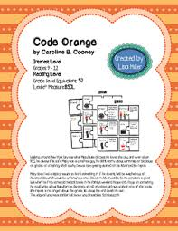 Reading Level Correlation Chart Common Core Code Orange Novel Unit With Differentiated Interactive Notes Aligned To Ccss