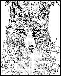 Fox Forget Me Nots Coloring Page For Adults By Sorchamoon On Etsy