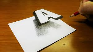 very easy how to drawing 3d floating letter a trick art on line paper for kids you
