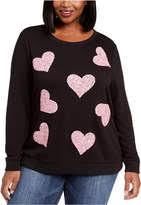 Inc Plus Size Sequin Heart Sweatshirt