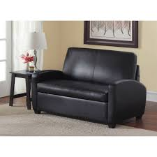 details about sleeper loveseat black sofa bed twin size mattress faux leather futon bedding