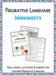 Literary Terms Chart Figurative Language Worksheets Definition Examples