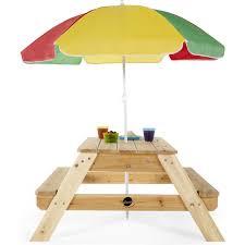 kids outdoor wooden picnic table bench umbrella set
