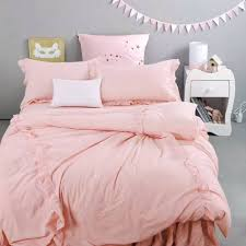 sweet pink ruffle duvet cover set 100 cotton solid color quilt cover bed skirt pillow case queen king size bedding set for girl