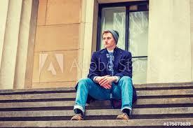 American Teenage College Student Wearing Blue Long Woolen Overcoat