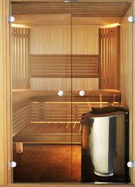 design sauna with glass doors