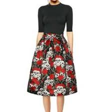 <b>Women</b> Rose <b>Print</b> Party Style Dress Casual Halloween Flare ...