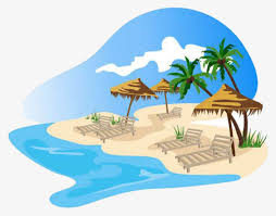 beach beach cartoon green coconut trees png image and clipart