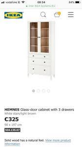 ikea hemnes brown black glass door cabinet