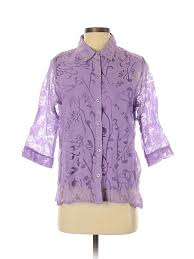 Haband Men S Size Chart Details About Salon Studio By Haband Women Purple 3 4 Sleeve Button Down Shirt Sm Petite