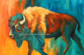 bright colorful buffalo painting western art by theresa paden