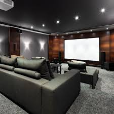 dark media room. Home Theater With Stadium Seating Sofas In Dark Grey Color Scheme And Wood Panel Wall. Media Room