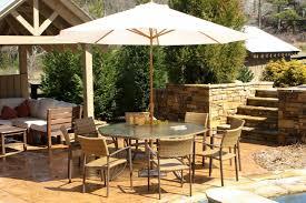 Patio Furniture Ideas Patio Dining Set With Umbrella And Cream