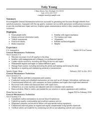 General Maintenance Superb Sample Resume Maintenance Technician