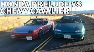 1988 Honda Prelude vs 1998 Chevy Cavalier Drag Race - YouTube