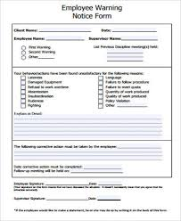 employee warning forms employee warning notice sample employee notice form examples in