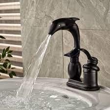 Deck Mount Single Handle Black Bathroom Dolphin Sink Faucet