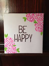 be happy canvas quote canvas painting happyplaque hand