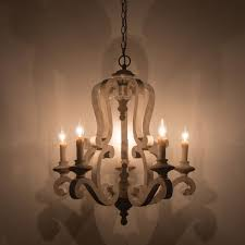 wood chandelier 5 light candle style distressed antique white
