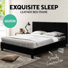 Image is loading NEW-Queen-Size-NEO-Bed-Frame-PU-Leather-