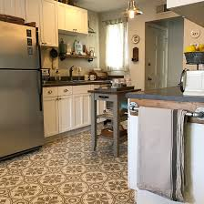 a diy stenciled and painted linoleum kitchen floor using the abbey tile stencil from cutting edge