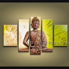 Paintings For Living Room Feng Shui Feng Shui Buddha Oil Painting 1061 This 5 Panels Canvas Wall Art
