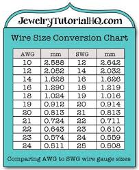 Awg Size Chart Jewelry Wire Wire Gauge Size Conversion Chart Comparing