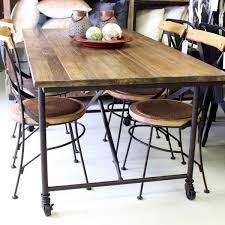 Industrial Kitchen Table Furniture Industrial Table On Wheels Urban Beach Lifestyle Furniture Nz