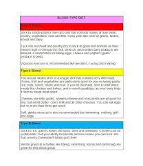 Yoga Diet Chart Pdf 30 Blood Type Diet Charts Printable Tables Template Lab