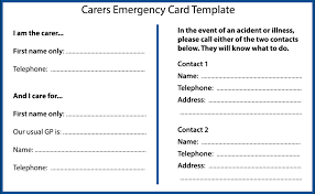 Emergency Card Template Planning For An Emergency As A Carer