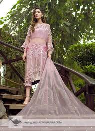 Off Shoulder Designer Suits Gorgeous Pink Net Embroidered Off Shoulder Designer Pant Suit