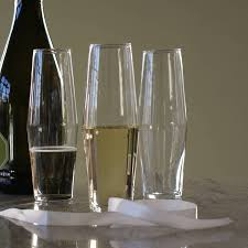 four handblown modern champagne glasses by huta