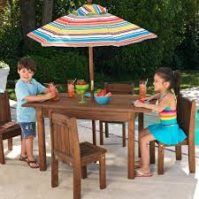 kidkraft outdoor table and 4 stacking chairs with striped umbrella 46 com