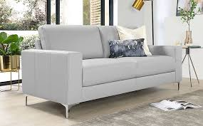 baltimore light grey leather 3 seater